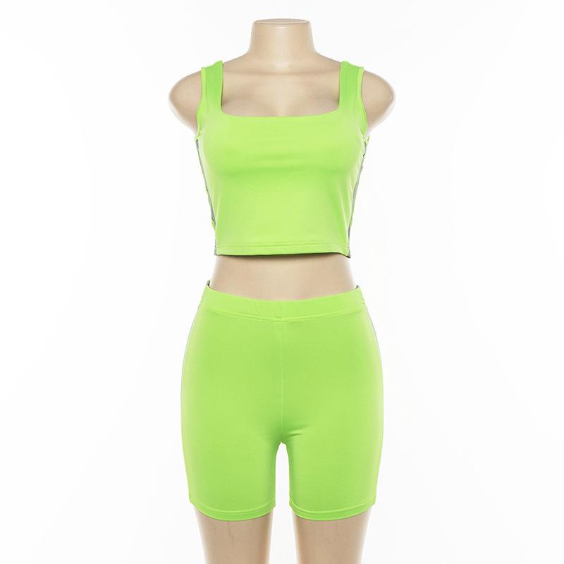 Women's 2 Piece Side Stripe Crop Top  /& Shorts Co-ord Set
