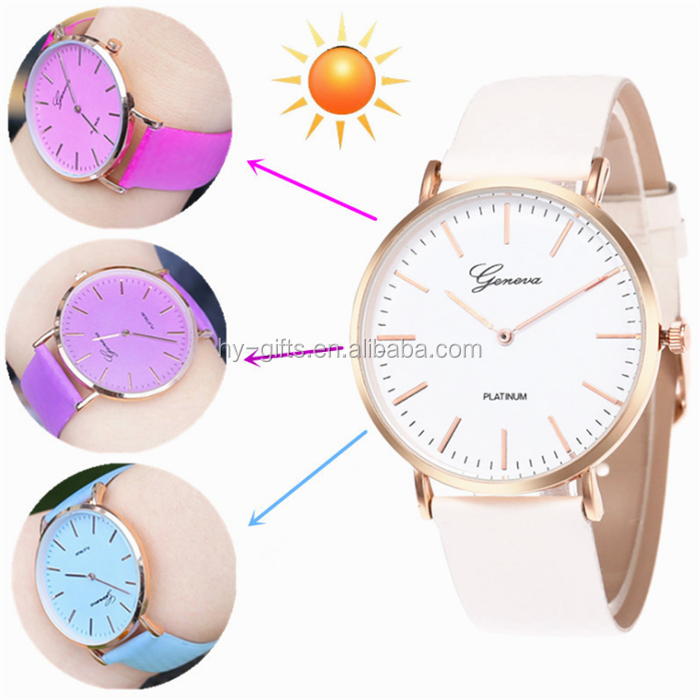 unique temperature color change geneva watch lady wrist leather dress watch