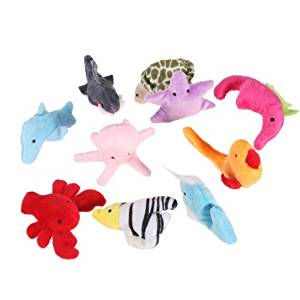 SODIAL(R)10PCS A SET Finger Puppet/Dolls/Toys Story-telling Props/Tools Toy Model Babies/Kids/Children Toys,Marine animals