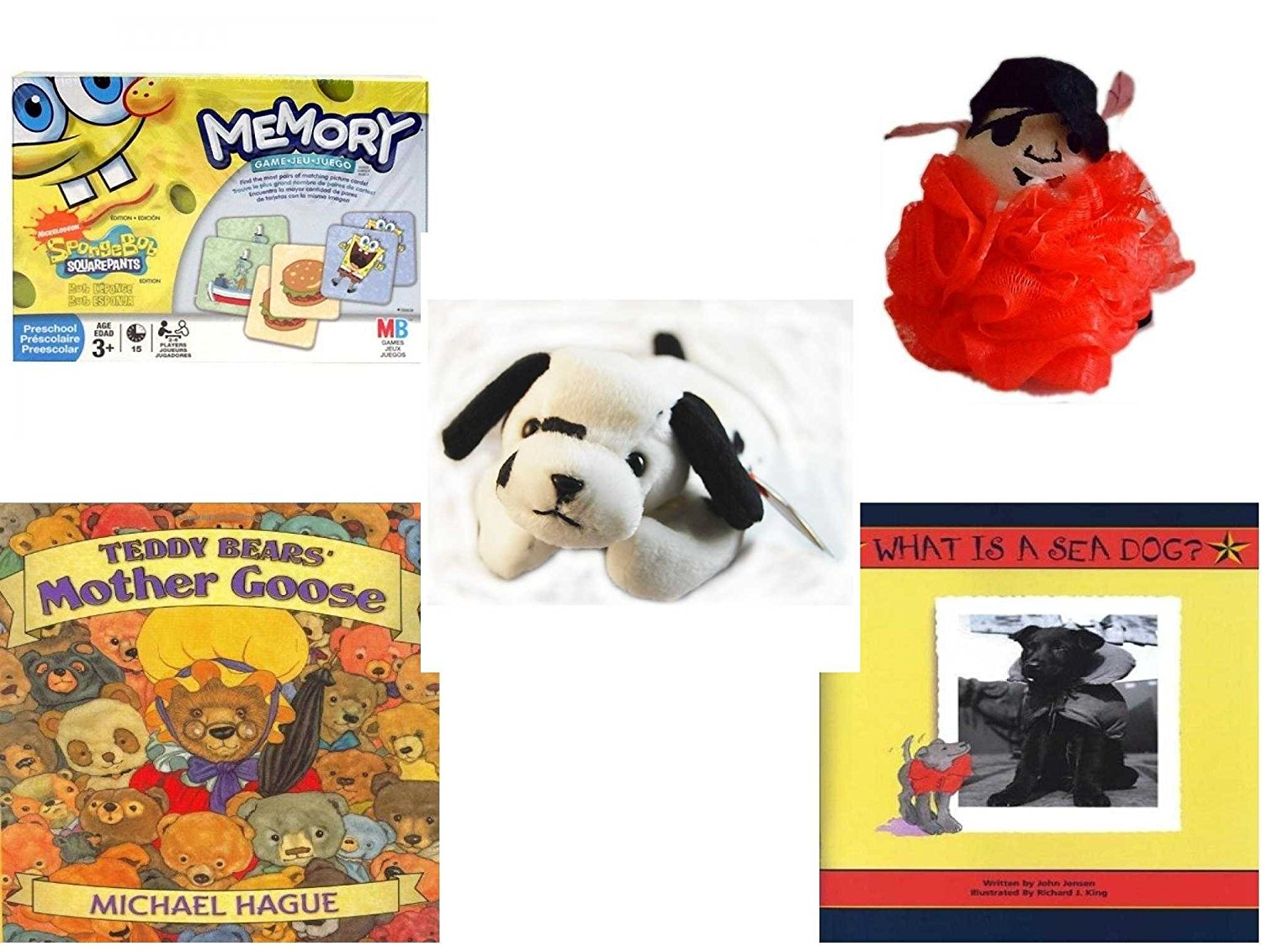 Children's Gift Bundle - Ages 3-5 [5 Piece] - SpongeBob SquarePants Memory Game - The Wiggles Captain Feathersword Net Bath Sponge - Ty Beanie Babies - Dotty the Dalmatian Dog - Teddy Bears' Mother