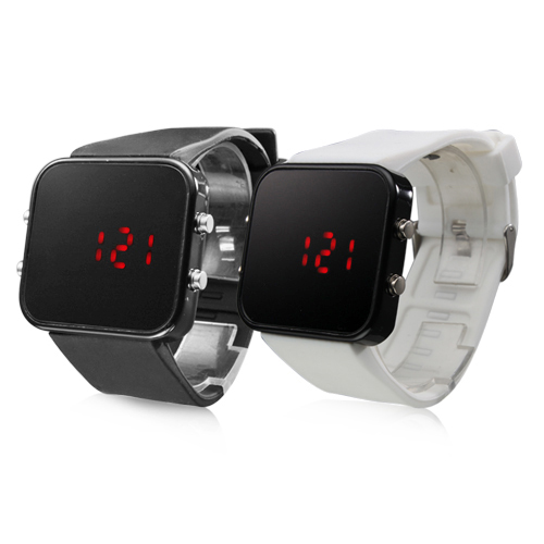Free shipping Black and White Pair of mens army sport silicone rubber watches red led digital square couple watches for lovers