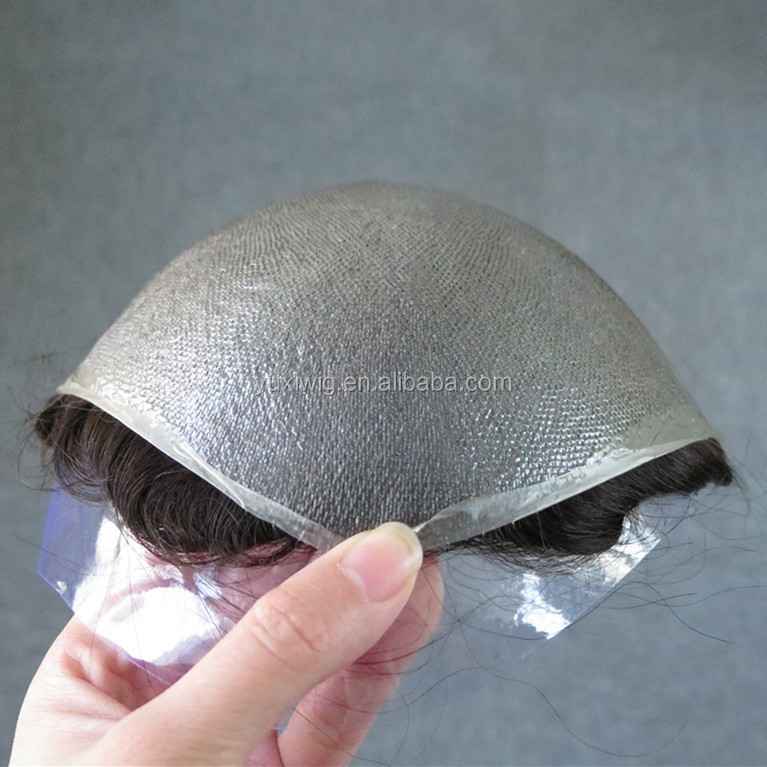 Ultra Thin Skin 0.02-0.03mm V-looped 100%Real Human Hair Men Toupee in stock