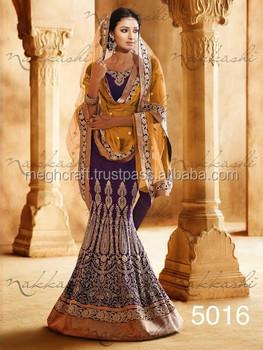 Designer Indian Bridal Lehenga Sarees - Blue Lehenga Saree ...