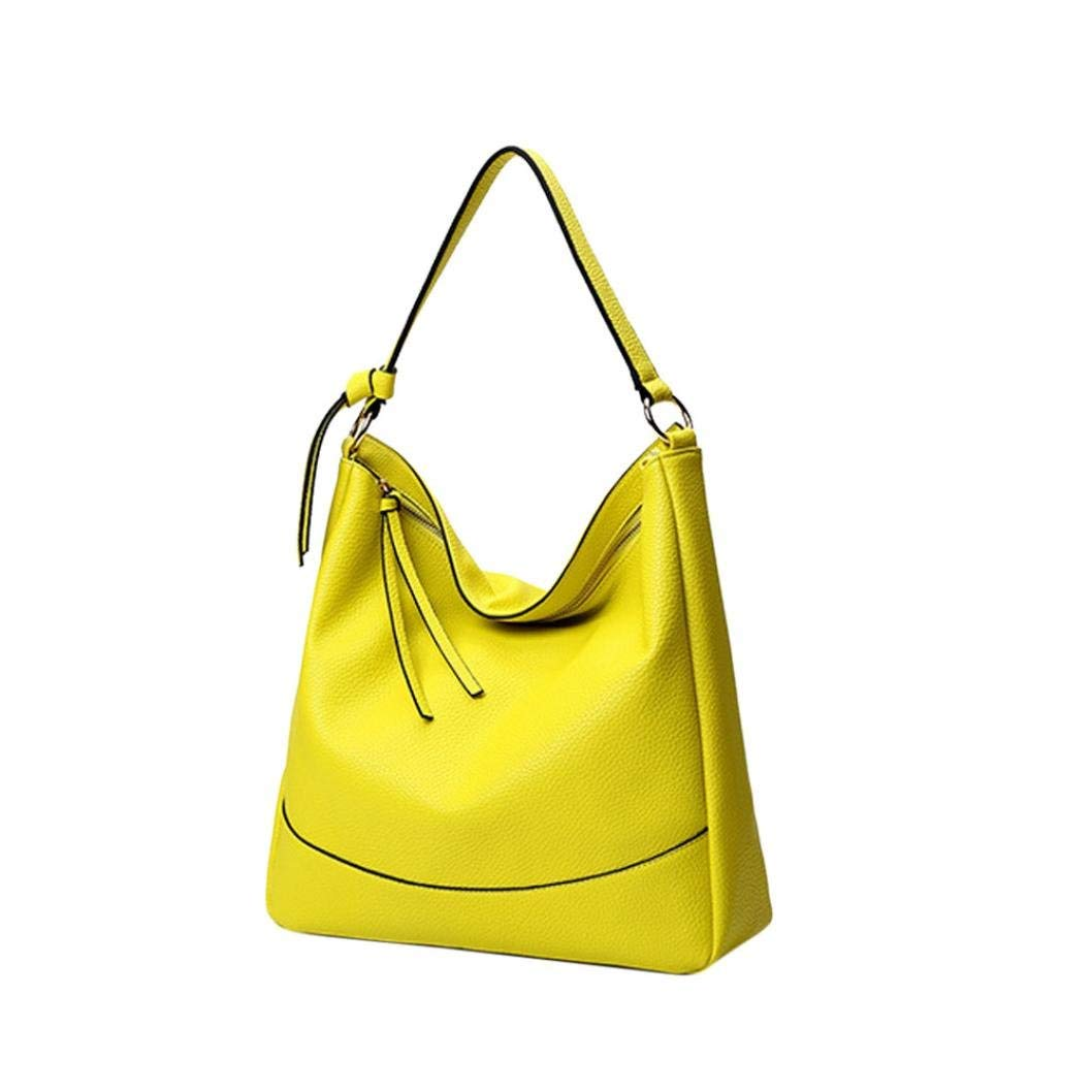 Crossbody Bag, NXDA Fashion Women Lichee Pattern PU Zipper Handbags Shoulder Bag Messenger Tote Purse For Women and Girls (Yellow)
