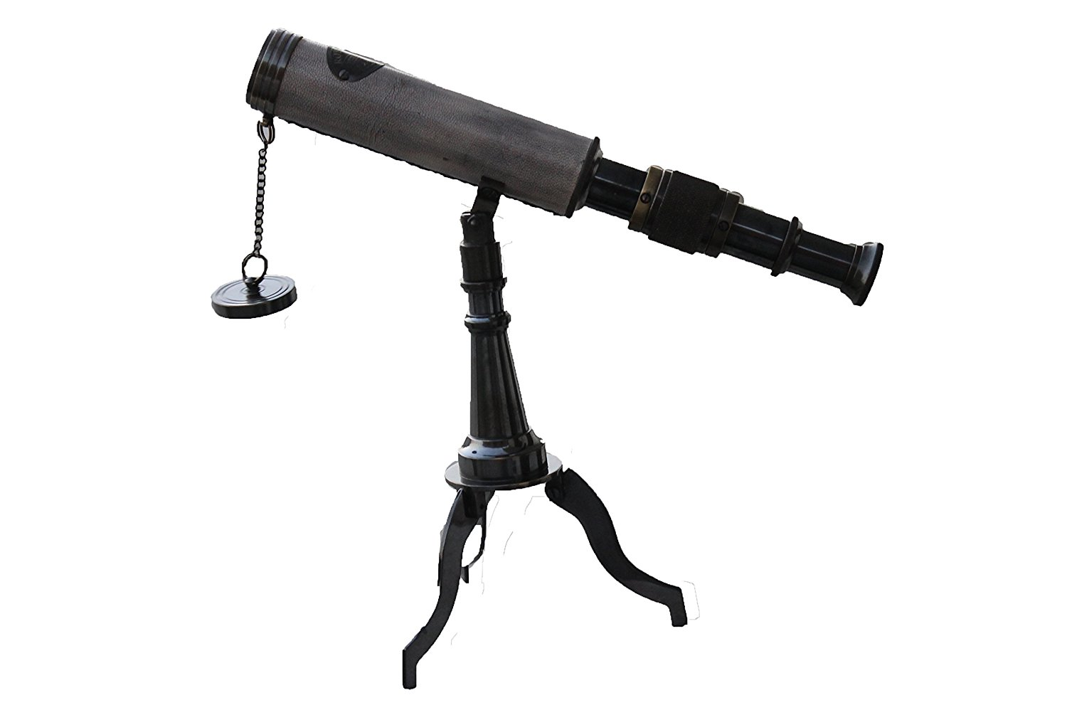 """PARIJAT HANDICRAFT 10"""" Antique Finished Travel Telescope with Stable Tripod Vintage Brass Telescope on Tripod Stand Telescope for Home Decor, Table accessory & Travel, Hiking accessory Perfect"""
