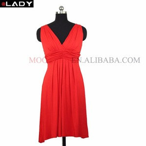 Red color knitted Rayon short Dress