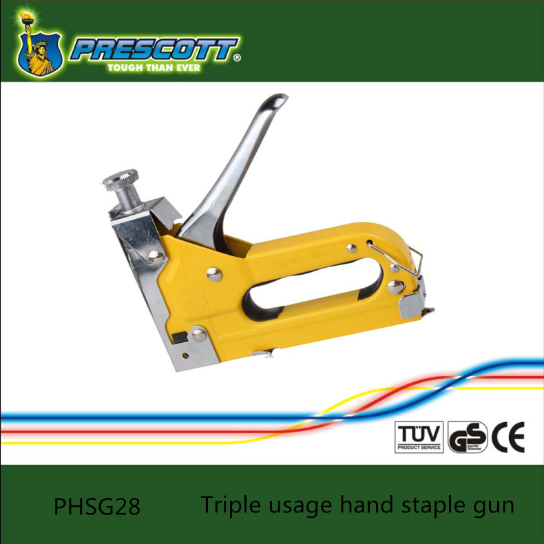 Triple usage hand staple gun