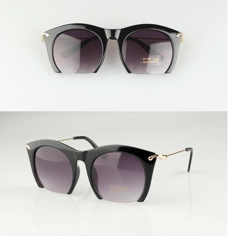 234442c0fb Get Quotations · 2015 new Brand half rim Women Sun wear Black Party  sunglass Metal Sunglasses CAT EYE Sun
