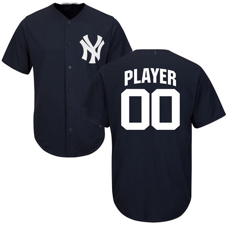 29ba846b39b Get Quotations · Bie Men Customized Yankees Navy Baseball Jersey