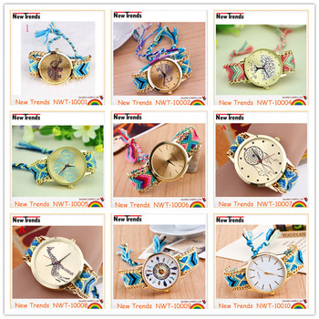Fashion national style handmade multi color woven braid women watches bracelet watches