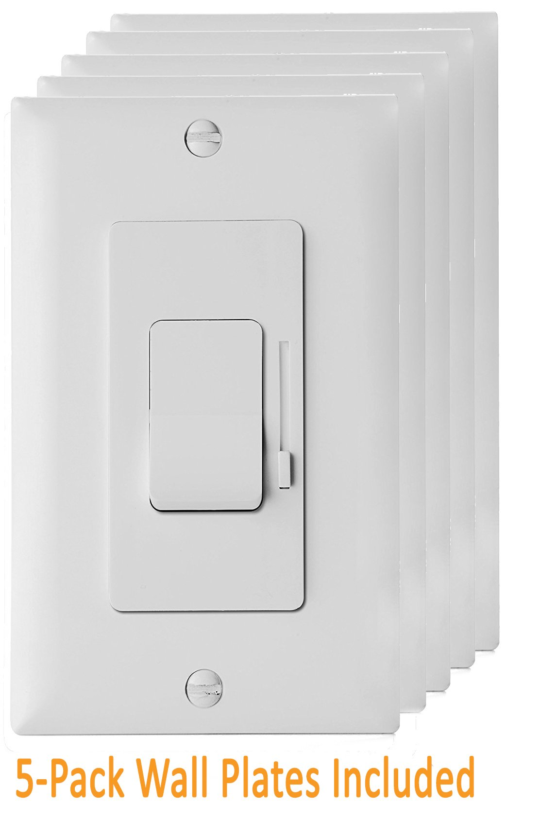 Enerlites LED Dimmer Switch 3 Way Dimmer Switch, Universal Lighting Control, Dimmer Switch for LED lights, CFL, Incandescent, Halogen, Wall Plates Included, 51300 White - 5 Pack