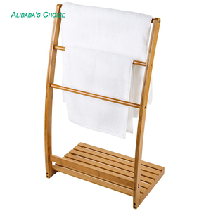 Freestanding Bamboo 3-Bar Towel Rack with 3 rungs and bottom shelf