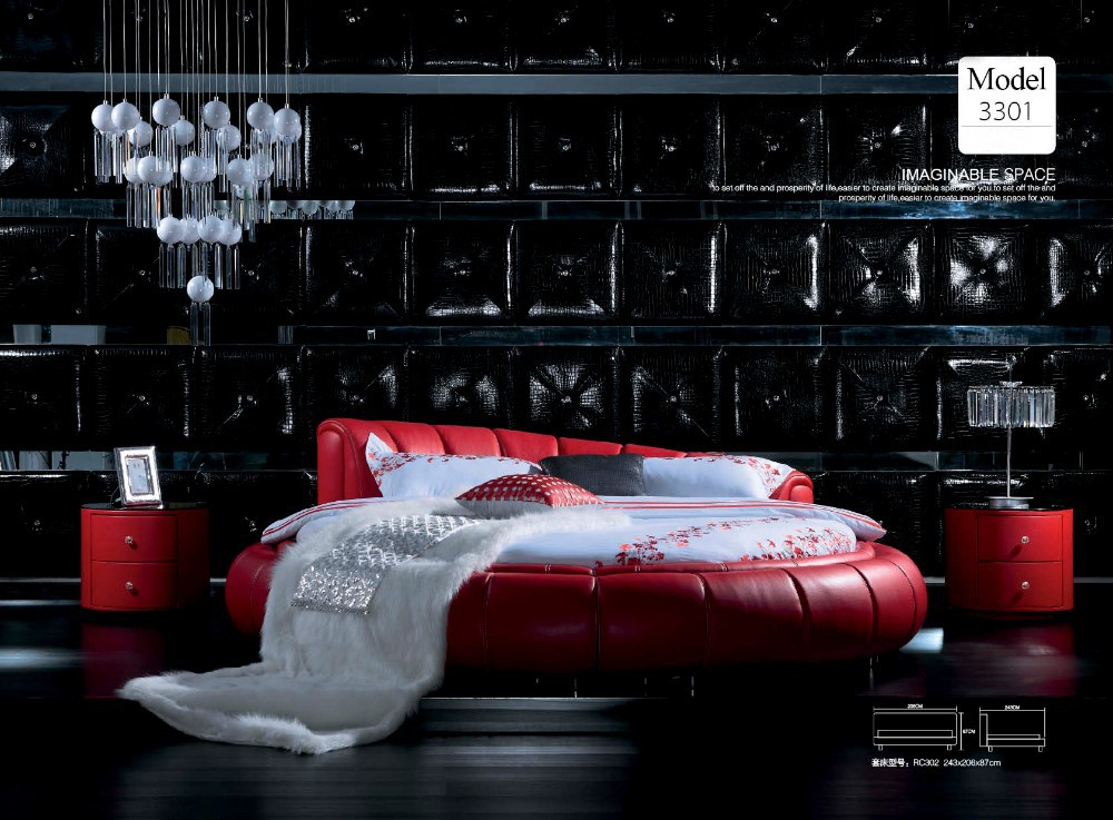 JR3301 MOMODA modern stylish red leather round bed new fashion bedroom set