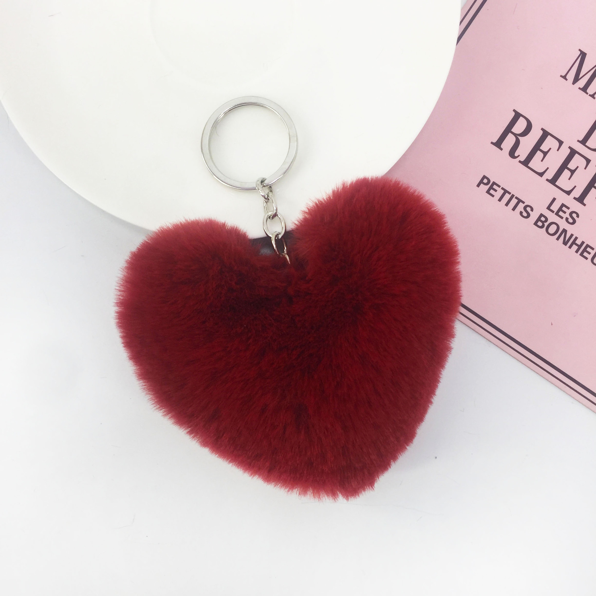 bulk custom colours shaped heart wool polyester plush keychain