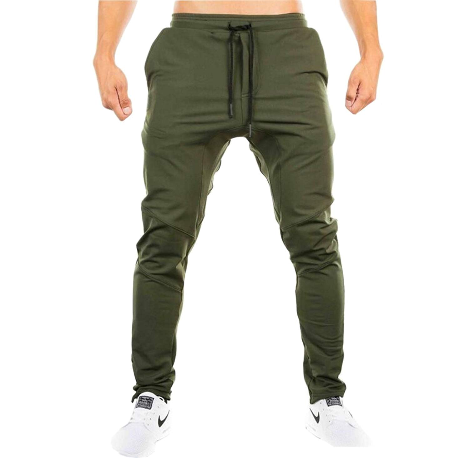 ONTBYB Men Gym Work Out Workout Slim Jogger Pants with Pockets