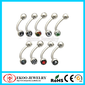 316L Surgical Steel Double Logo Eyebrow Ring Cool Eyebrow Piercings