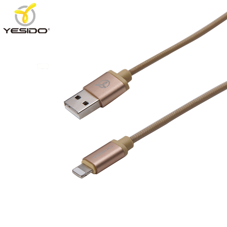 High quality simple design for iphone braided cable metal micro mobile phone usb cable gold
