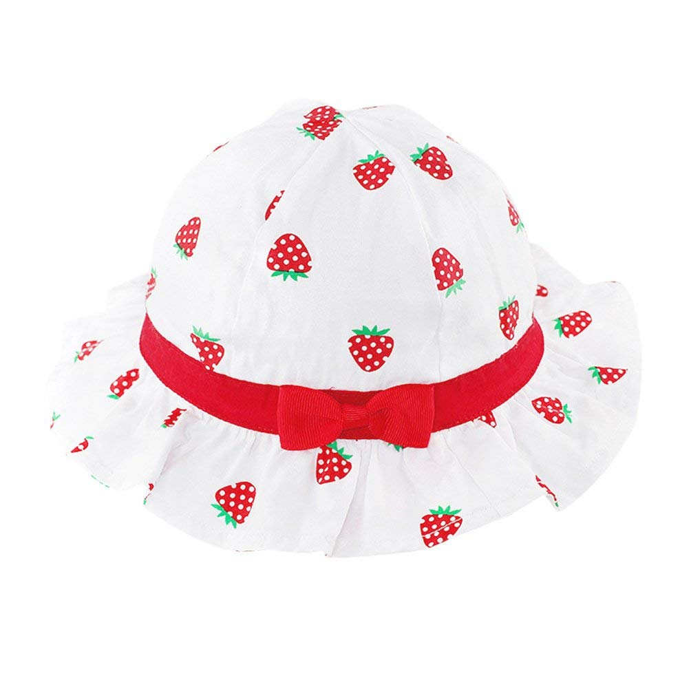 fabdf812 Get Quotations · Tortor 1Bacha Infant Baby Toddler Kid Girls' Strawberry  Bowknot Sun Bucket Hat