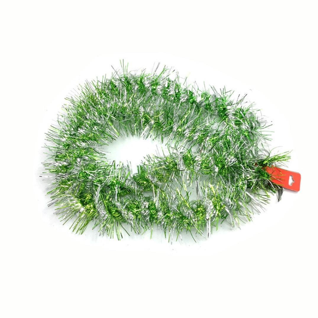 Coohole Christmas Party Xmas Tree Ornaments 1.8m Tinsel Hanging Decorations 6 Colors (green)