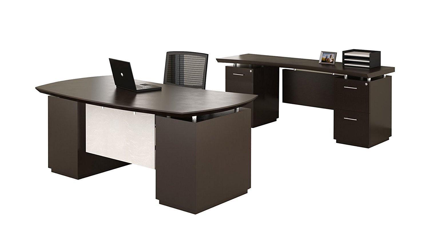 "Mayline Desk & Credenza Set Desk Dimensions: 72""W X 39""D X 29.5""H Credenza Dimensions: 72""W X 24""D X 29.5""H Both Desk & Credenza Feature 1 5/8"" Thick Work Surface - Textured Mocha"