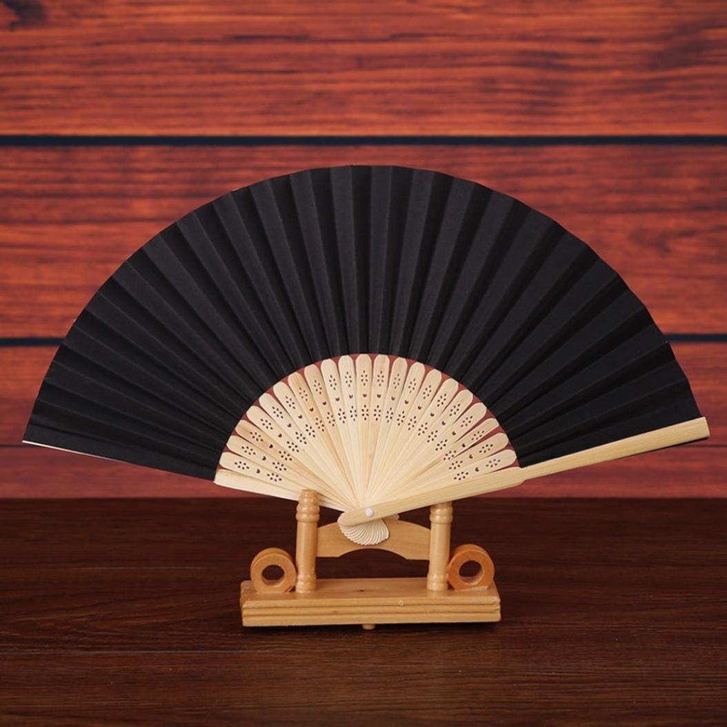 Ecosin Folding Fan Pattern Folding Dance Wedding Party Lace Silk Folding Hand Held Solid Color Fan (Black)