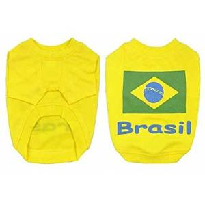BuW Brazil Soccer Jersey 100% Cotton for Pet Dog and Cats (L Size) dog supplies puppy sweaters dog holiday dresses
