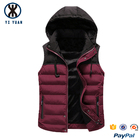 Red Vest Down Vest Ultra Light Unisex Stylish Wine Red Men Puffer Vest With Hood