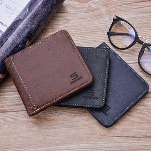 Fashion Good Quality Retro Mens PU Leather Wallet Polyester Tri Fold Short Wallets