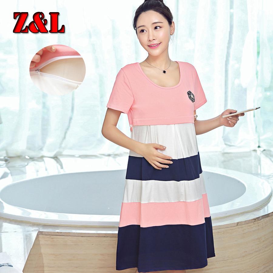 NEW Summer Maternity clothing breast feeding clothes big striped dresses for pregnant women nursing summer dresses