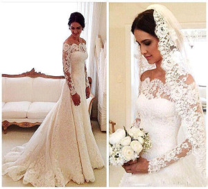 Vintage A Line Lace Wedding Dresses Arabic Long Sleeves Vestidos de novia Plus Size Bridal Gowns With Button Back