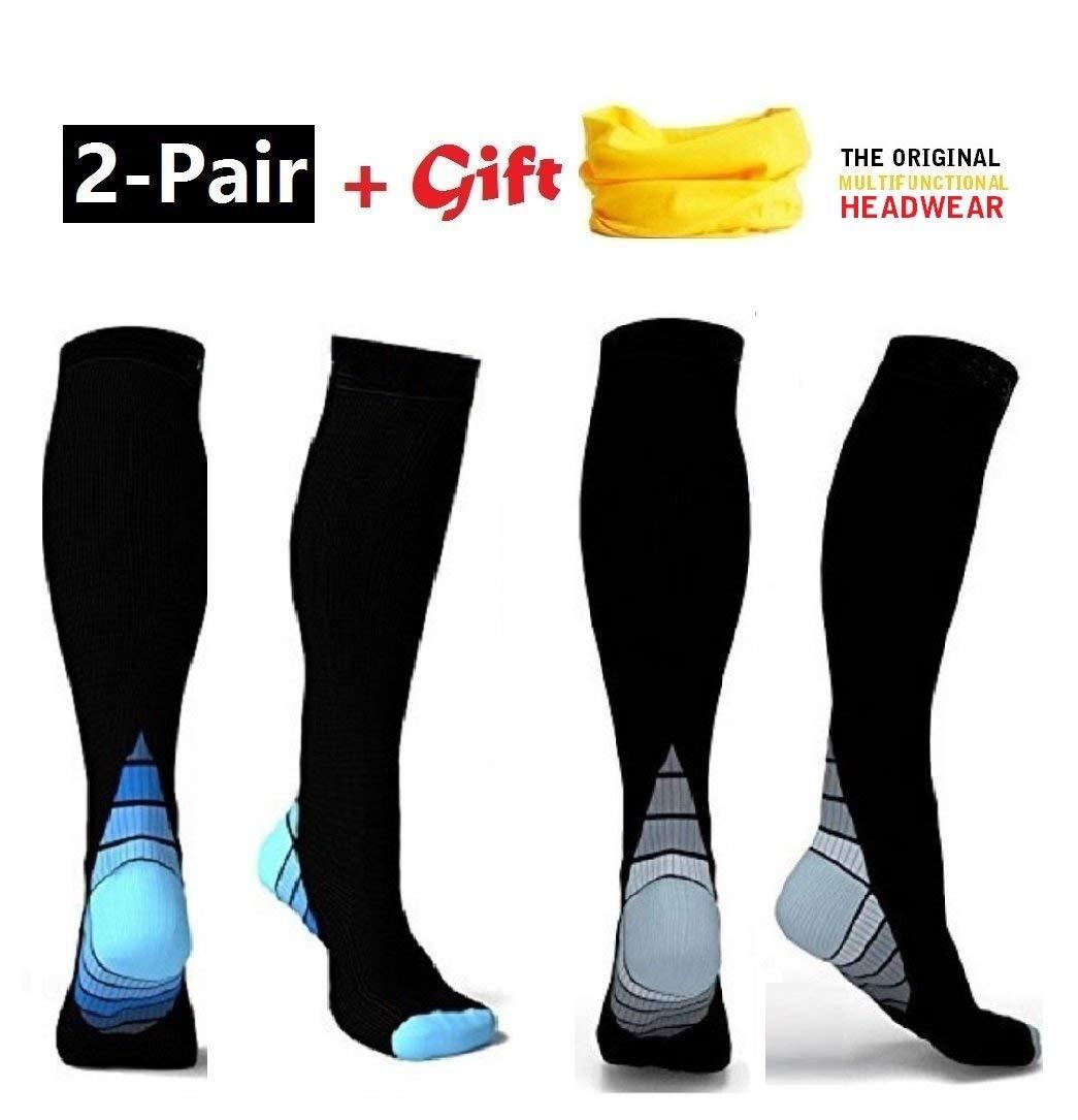 3 Pairs Graduated Compression Stockings Best for Running,Nurses,Shin Splints,Flight Travel/&Maternity Pregnancy Compression Socks for Men/&Women 20-25 mmHg