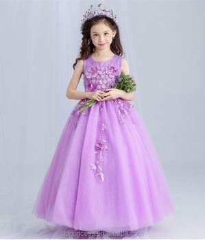 86679d87a2e New Arrival Violet Ball Gown Tulle Girls Long Wedding Dress Sleeveless  Embroidery Flower handmade Beaded Purple