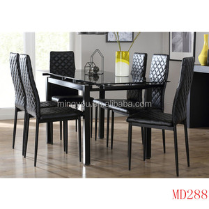 Black Tempered Glass space saving ceramic top patio table