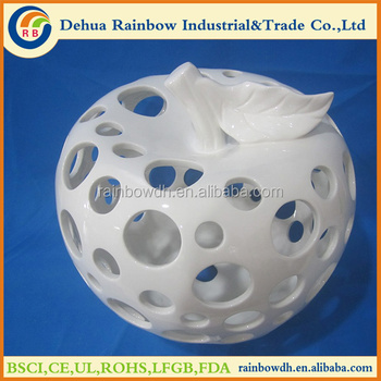 2016 White Big Ceramic Glazed Apple Decor Buy Ceramic Fruit Decor