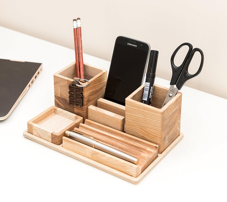 Wooden Desk Organizer - Big Table Organizer - Wooden Office Organizer - Desk Organization - Complete Desk Storage - Father Day Gift