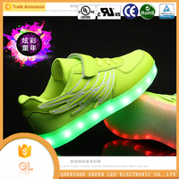 Rubber insole material lace-up style sneakers led shoes for women led light sneakers