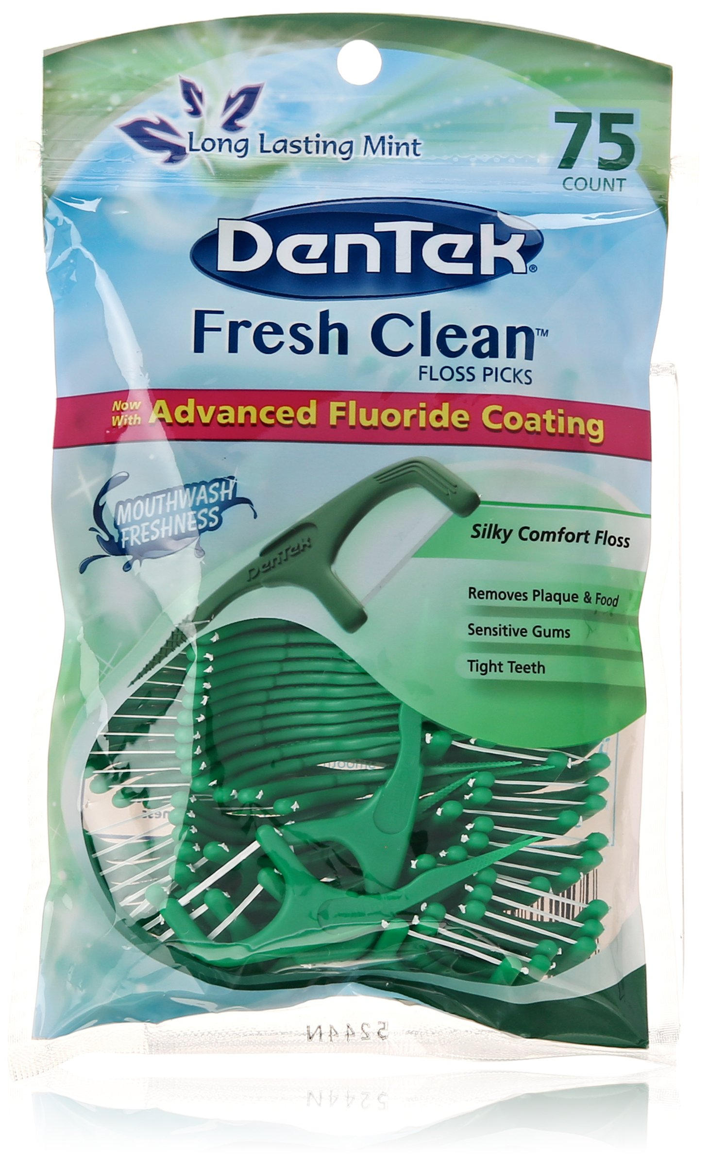 DenTek Fresh Clean Floss Pick, Removes Plaque and Food, 75 Count, Packaging May Vary