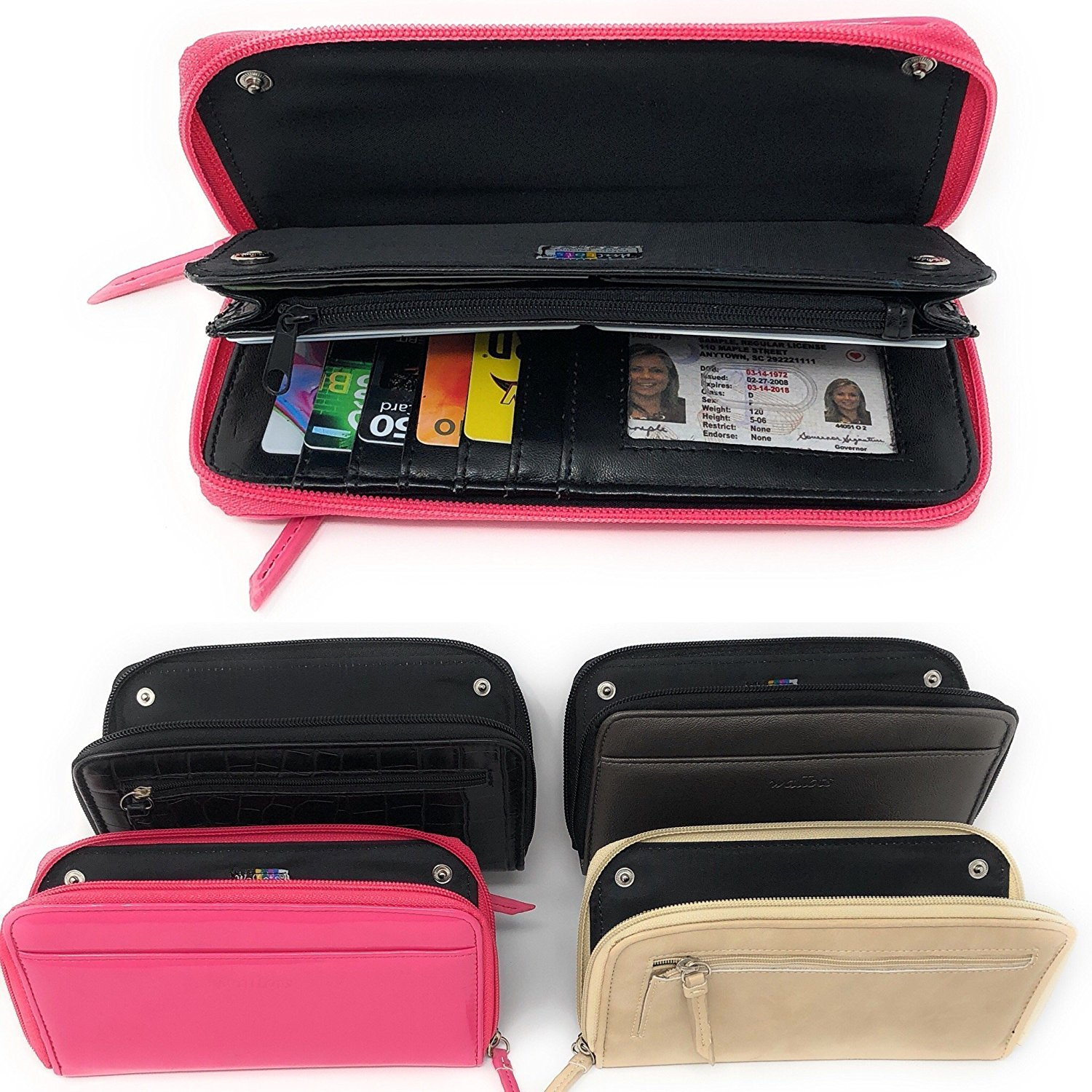 ~NEW~ Interchangeable Wallets for Women ~ 5 PIECE Set ~ With Zipper Pockets Checkbook Card Holder Hot Pink Pewter Tan Black Wallet Clutch PU Leather by ccBYs