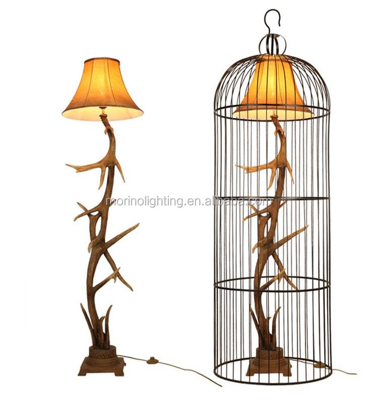 Europe Rustic Indoor Standing Living Room Metal Cage Floor Lamp