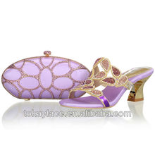 2013 African woman shoe and bag set for wedding wholesale in lilac