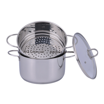 high quality stainless steel classic Steamer set with hollow handle and induction bottom