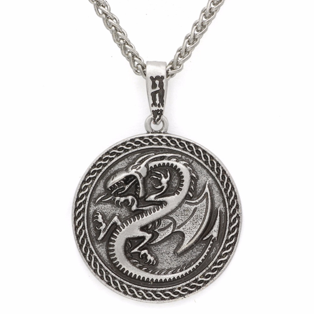 Men Viking Dragon Sekira Legendary Aegishjalmur Amulet Nordic Talisman Pegan Pendant Necklace Silver Chain Jewelry & Accessories Necklaces & Pendants