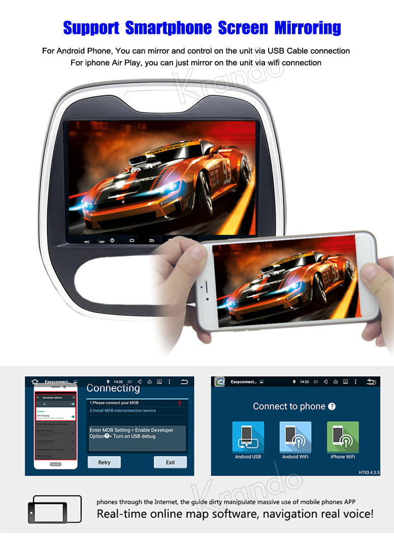 Krando Android 7.1 10.1'' full touch screen car player for Renault Captur Clio Samsung Qm3 2011+ gps multimedia system KD-RC311