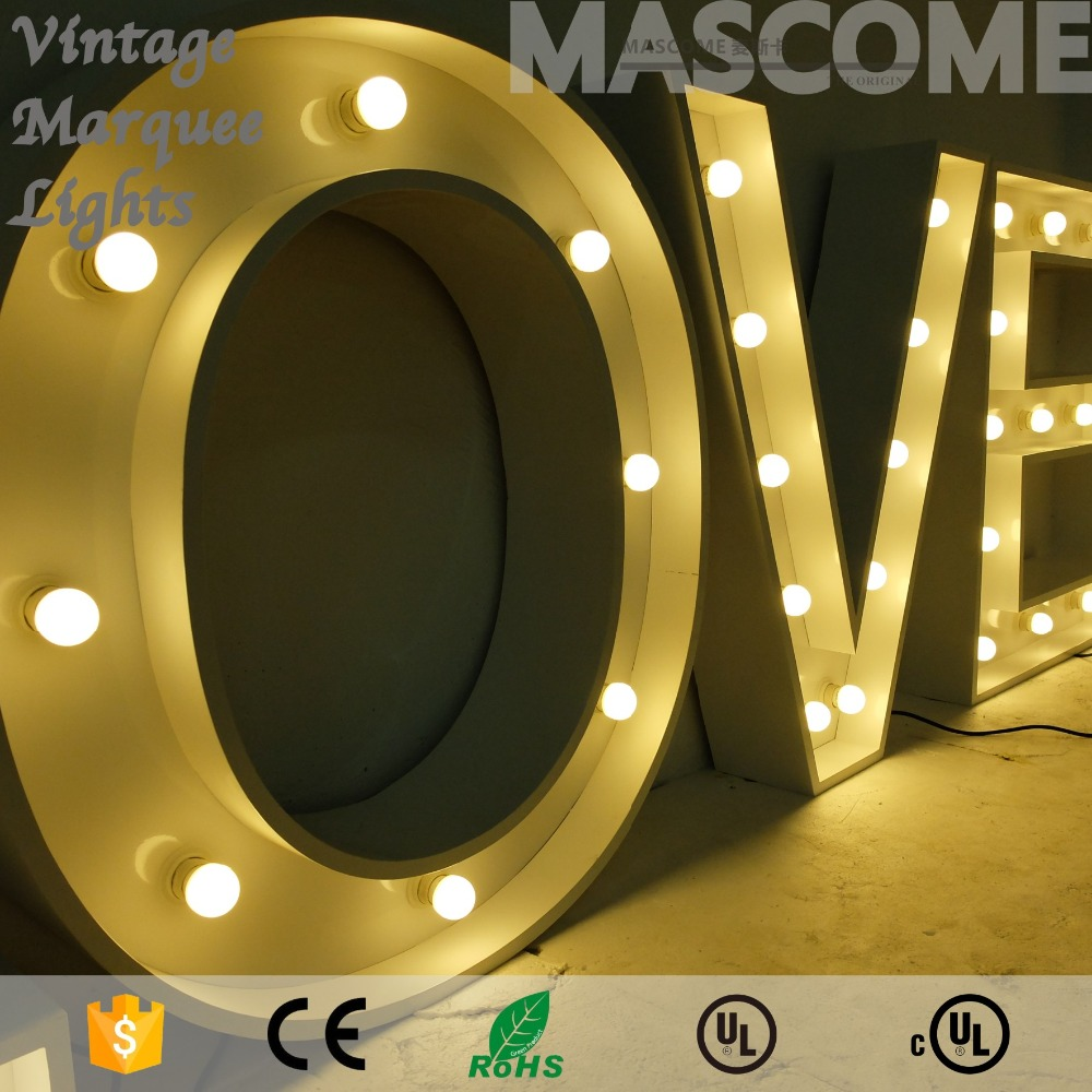 "5'5"" height large metal LED love marquee letters"