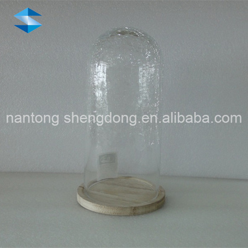 Clear Crackle Glass Vase On Metal Stand