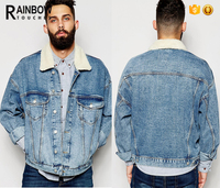 2017 Fleece Collar Plain Stretch Chest Pocket Stone Washed Custom Denim Jacket with Button
