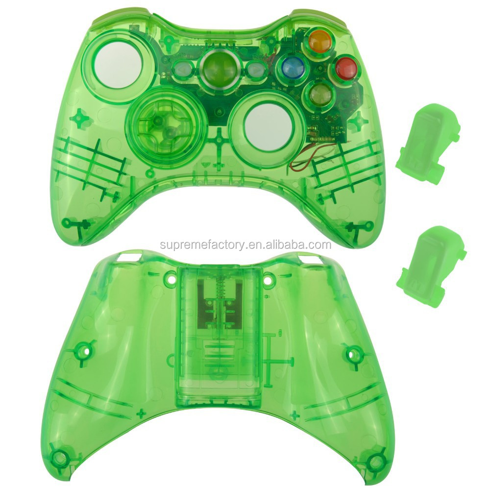 New Green Wireless Controller Shell Housing Replacement with New D-pad LED Kit For XBox 360