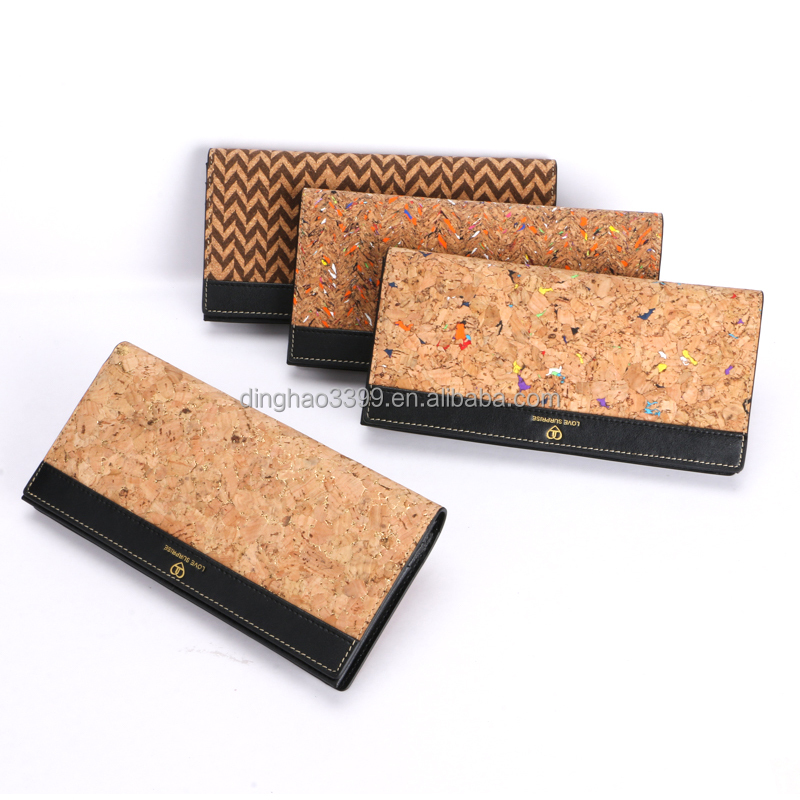 Pattern durable horal cork wallet ,new style high quality waterproof cork purse ,fashion eco-friendly cork notecase for woman