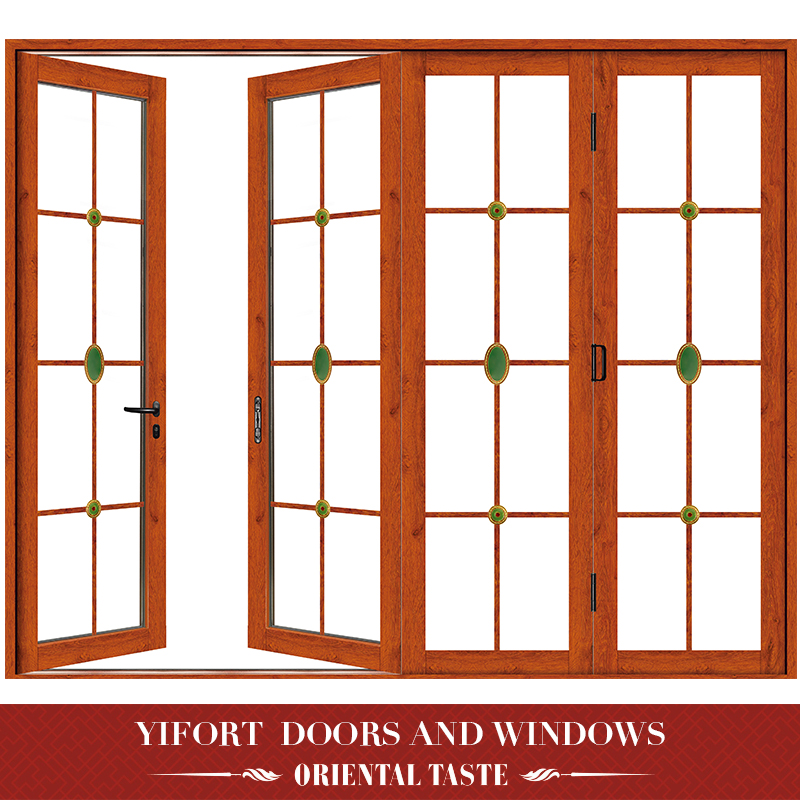 New style wooden grain aluminum 4 panels swing glass door