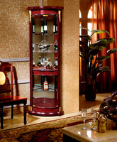 Free Standing Modern Design Showcase Corner Wooden Frame Glass Liquor Wine Display Cabinet For Living Room